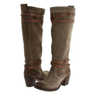 Frye Jane Strappy Fatigue Suede Knee High Boots